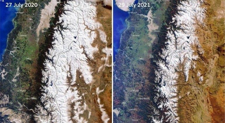 Imagens de satélite mostram grande diminuição na área com neve em 2021, em comparação com 2020