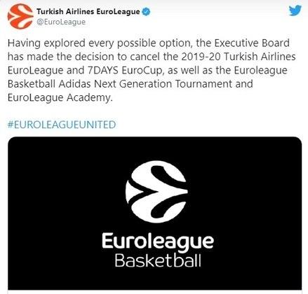 Segunda maior liga de basquete do mundo, a Euroliga, com 18 equipes de dez países diferentes do Velho Continente, cancelou sua temporada de 2019/2020. Já a edição de 2020/2021 começou em primeiro de outubro