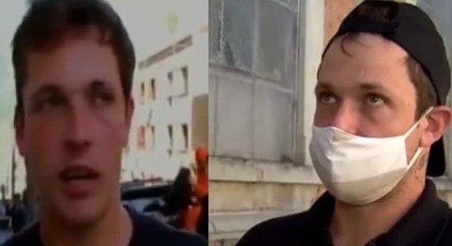 À esquerda, Rodrigo Moura, com 21 anos, em entrevista sobre o incêndio na boate