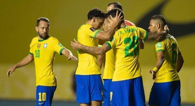 Seleção brasileira, na sofrida vitória diante da Venezuela, no Morumbi. Tediosa