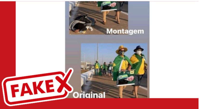 Postagens mentem sobre foto da manifestação em Brasília