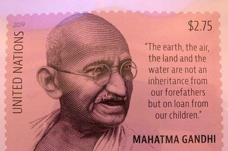 Selo lançado pela ONU pelos 150 anos de Gandhi