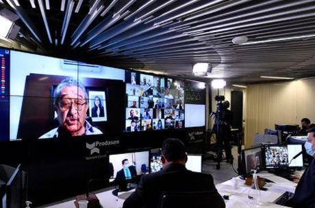 O senador José Maranhão em sessão virtual antes da covid