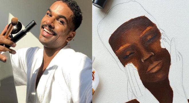 #PraTodosVerem: Maquiador Tássio Reis posa em selfie segurando pincéis. Ao lado da foto, pintura inacabada mostra mulher negra com as mãos no rosto