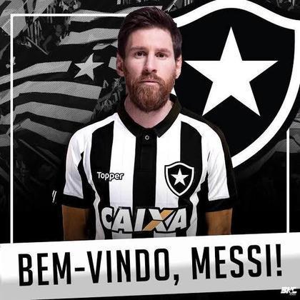 Será que vem para o Brasil? Em montagem, Lionel Messi veste a camisa do Botafogo
