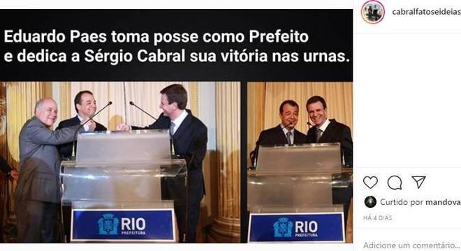 Página fez publicações com imagens de Cabral e Eduardo Paes