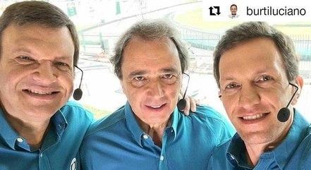 Sérgio Maurício, Reginaldo Leme e Luciano Burti, pessoal da Fórmula 1 na Band