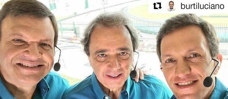 Sérgio Maurício ao lado de Reginaldo Leme e Luciano Burti