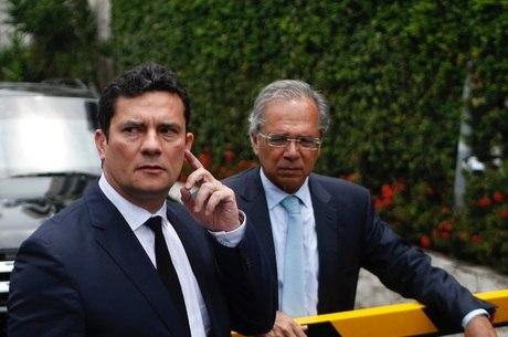 Moro e Paulo Guedes, após reunião no Rio de Janeiro