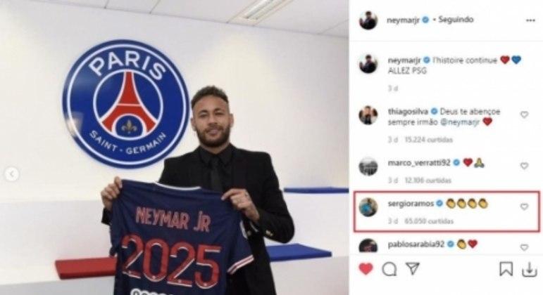 Sergio Ramos comentando na foto de Neymar no Instagram