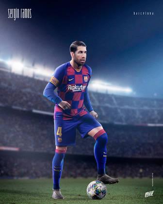 Sergio Ramos, ídolo do Real Madrid, vestindo o uniforme do Barcelona.