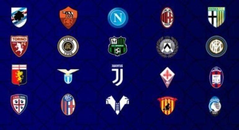 Os vinte clubes da Série A da Itália