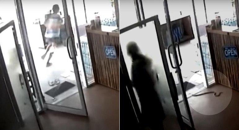 Serpente invadiu loja na Tailândia e provocou a fuga de funcionária do local