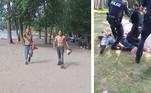 Uma cena saída de filmes de terrorgorefoi filmada em Toronto, Canadá: dois homens aparentemente insanos, portando motosserras e cobertos de sangue, aterrorizaram turistas e banhistas em uma praia