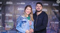 Sertanejo Cristiano tieta barriga de gravidez de Paula Vaccari em show (Thiago Duran/AgNews)