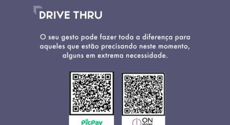 Nos stories das redes sociais, o QR Code vai estar disponível para as doações serem feitas