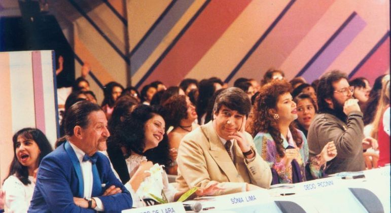 Os jurados do Show de Calouros, já nos anos 90