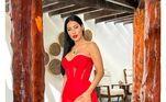 A cantora deixou seguidores deslumbrados ao compartilhar uma foto na véspera do Natal de 2020. Apostando todas as suas fichas no vermelho, cor clássica dessa festividade, ela esbanjou sensualidade ao escolher um vestido com fenda lateral e transparência