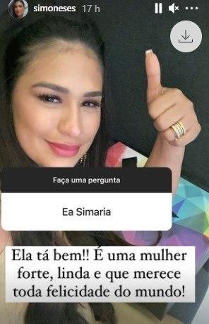 Simone Mendes diz como Simaria está após separação: 'Ela é forte'