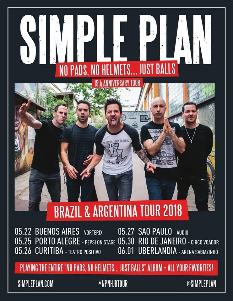 Estão confirmados cinco shows do Simple Plan no Brasil