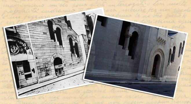 Sinagoga de Triestre em 1938 e no pós-guerra