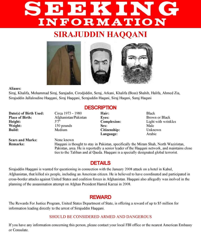 O pôster de procurado emitido pelo FBI para Sirajuddin Haqqani