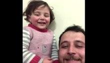 A vida é bela na Síria: Pai e filha riem de bomba em meio à guerra