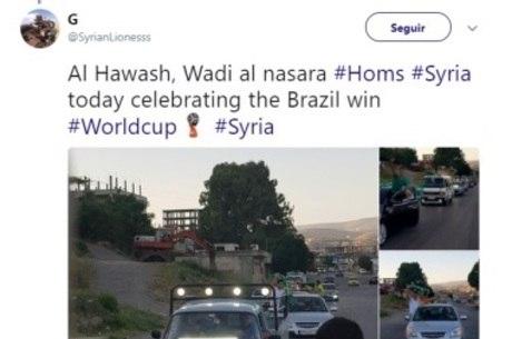 Sírios comemoram a vitória do Brasil contra o México