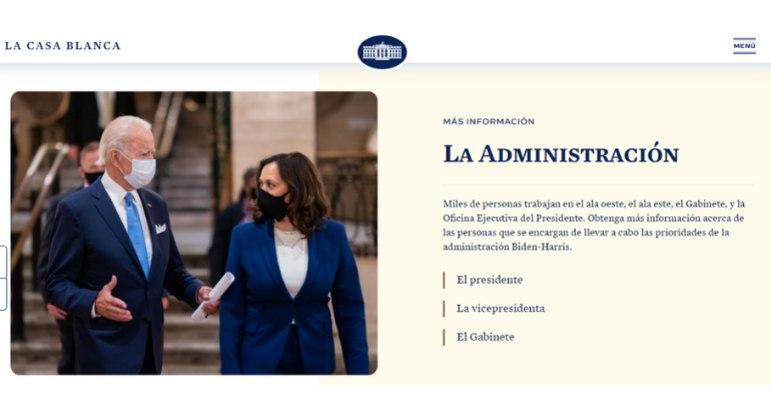 Site da Casa Branca ganha uma versão em espanhol após 4 anos de governo Trump