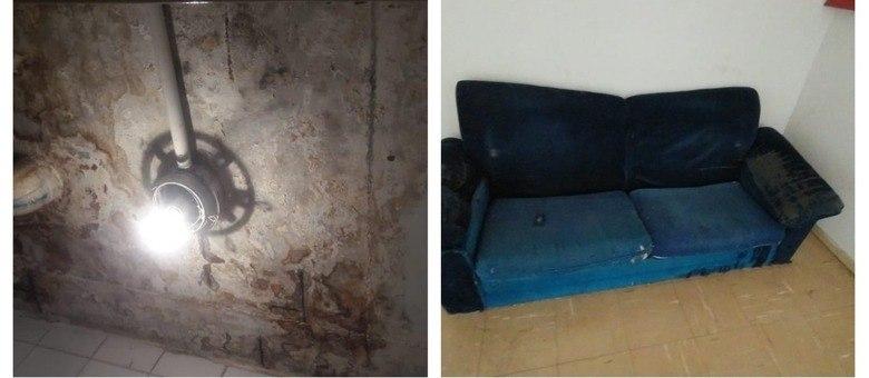 Condições precárias no Crusp com infiltração e sofá velho na sala de estudos