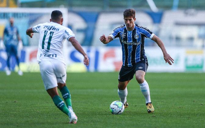Sobe e desce do Grêmio: Time de Renato Gaúcho voltou a desejar. Mesmo com maior posse de bola no primeiro tempo, criou poucas oportunidades. Conseguiu o empate nos acréscimos, com Ferreira, que saiu do banco de reservas.