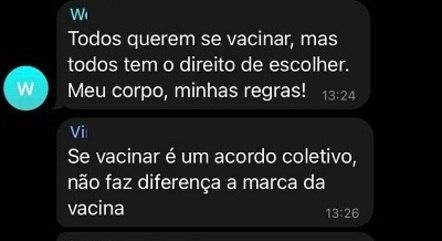 Discussão em um dos grupos no Telegram