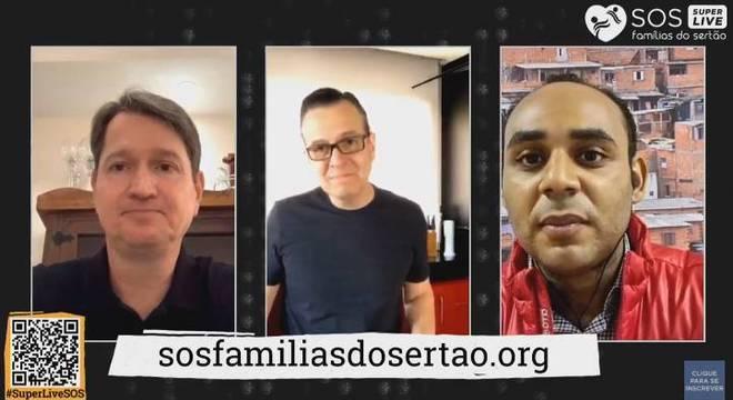 Nicolas Toth (dir.), Celso Zucatelli e Gilson Rodrigues (esq.) em live