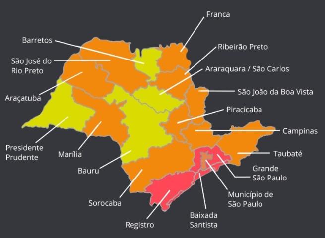 Primeiro mapa anunciado pelo estado, em 27 de maio