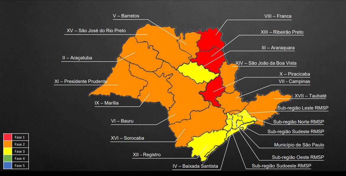 Mapa mostra a situação de cada região do estado de São Paulo até 31 de julho