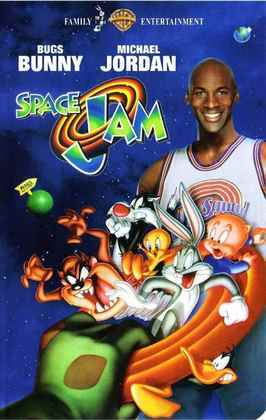 """Space Jam: O Jogo do Século (1996) - Michael Jordan estava entediado jogando beisebol e, do nada, astros da NBA (Charles Barkley, Patrick Ewing, Larry Johnson, Mugsy Bogues e o não tão brilhante Shawn Bradley) perdem seus talentos para alguns monstros. Jordan é """"convidado"""" a ir para o mundo dos desenhos e se junta a Pernalonga para bater o outro time e, em contrapartida, recuperar as habilidades de seus colegas"""