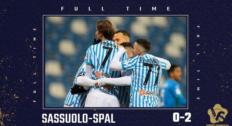 A festa na capa do Twitter da SPAL, que derrubou o favorito mas desfalcado Sassuolo