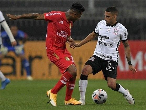 Sport Huancayo-PER - E um time muito frágil, que não ofereceu muita resistência e até deu muitas oportunidades de graça para o Corinthians. O lance de maior destaque foi um quase gol do meio-campo em batida de Barreto.