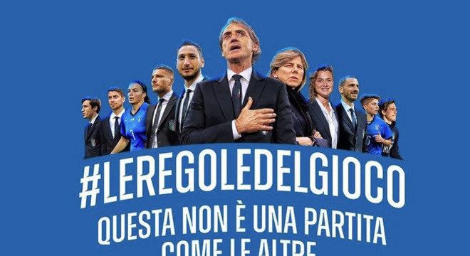 Roberto Mancini, o treinador da Itália, na campanha contra o contágio