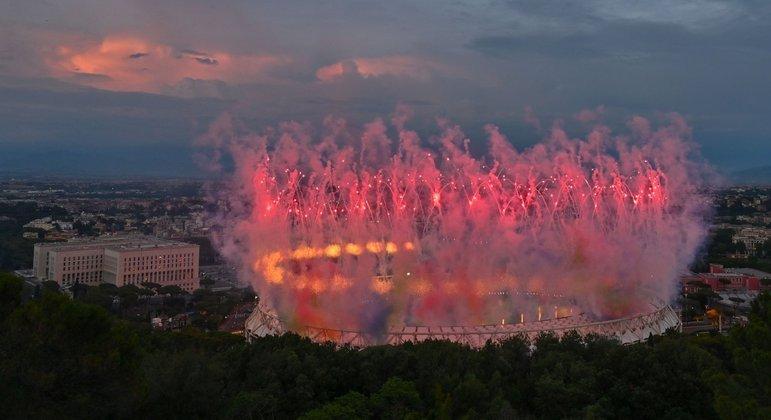 O exterior do Olímpico de Roma, na abertura da Euro2020