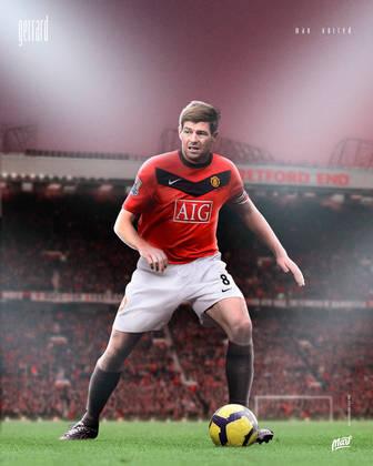 Steven Gerrard, ídolo do Liverpool, com a camisa do Manchester United.