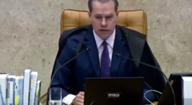 O ministro Dias Toffoli, durante sessão por videoconferência