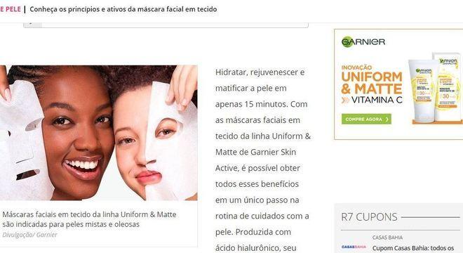 Canal patrocinado para a linha Garnier Skin Active reuniu matérias de serviço e conteúdo informativo