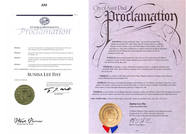 Governador de Minnesot e prefeito de Saint Paul criaram o Dia da Sunisa Lee