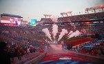 Só cerca de 25 mil pessoas, praticamente um terço da capacidade, estavam presentes no estádio, casa dos Buccaneers