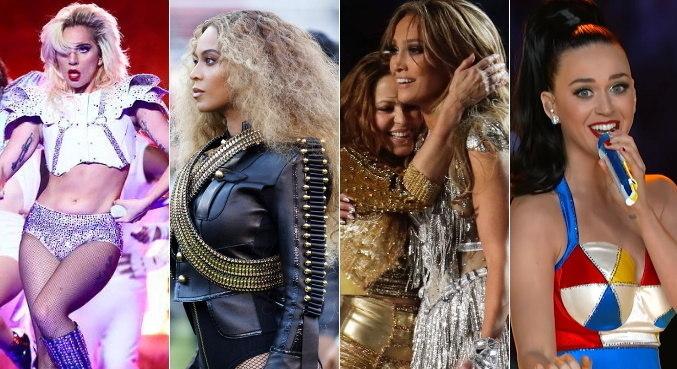 Lady Gaga, Beyoncé, J.Lo, Shakira e Katy Perry já cantaram no Super Bowl