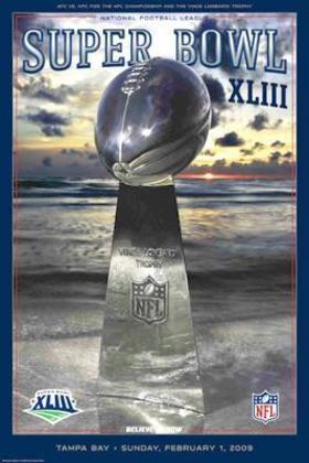 Super Bowl XLIII - Pittsburgh Steelers e Arizona Cardinals decidiram a pós-temporada, em Tampa. O sexto SB dos Steelers veio com a vitória por 27 a 23, em Tampa.
