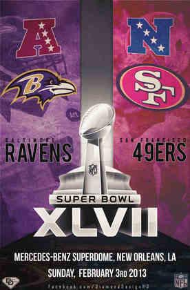 Super Bowl XLVII - Nova Orleans foi o palco para a decisão entre Baltimore Ravens e San Francisco 49ers. No Super Bowl que ficou marcado pelo apagão durante a partida, os Ravens superaram os 49ers por 34 a 31 e conquistaram o segundo SB da franquia.