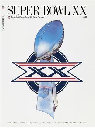 """Super Bowl XX - 20 anos após o início da """"Era Super Bowl"""", o Chicago Bears decidiu o campeonato com o New England Patriots, em Nova Orleans. No final, massacre dos Bears por 46 a 10."""