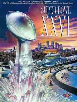 Super Bowl XXVI - Em Minneapolis, o Washington Redskins passou pelo Buffalo Bills, por 37 a 24 e garantiu seu terceiro Super Bowl.